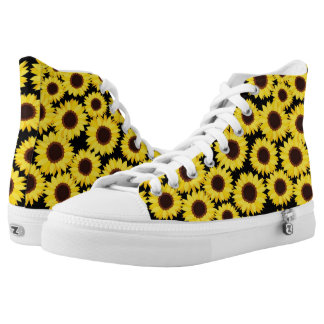 Background with sunflowers printed shoes