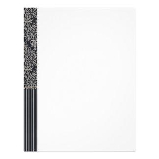 backgrounds03 BLACK WHITE DAMASK STRIPES BACKGROUN Letterhead