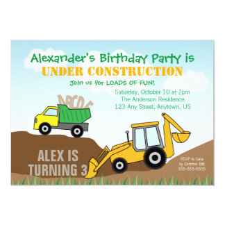 Backhoe and Dump Truck Boy's Birthday Party Card