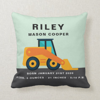 Backhoe Birth Stats Throw Pillow