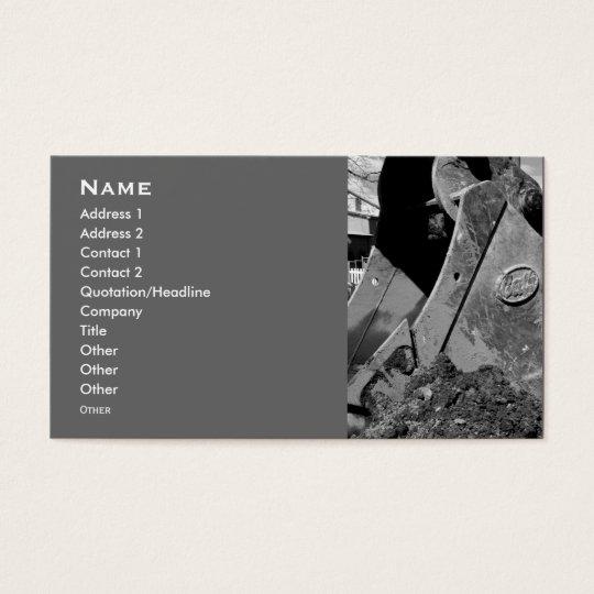 backhoe business cards. business card