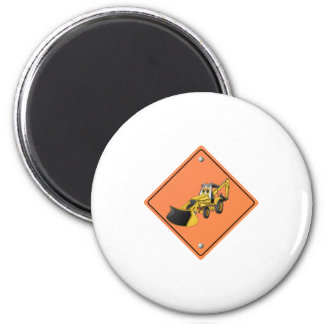 Backhoe Cartoon Construction Sign Magnet