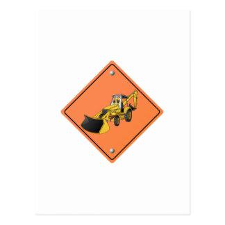 Backhoe Cartoon Construction Sign Post Card