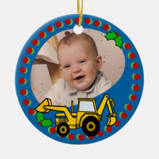 Backhoe Christmas Double-Sided Ceramic Round Christmas Ornament