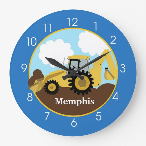 Backhoe Construction Clock - Add a Name