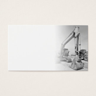 backhoe construction equipment in black/white business card