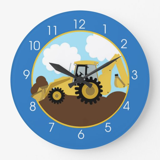 Backhoe Construction Wall Clock - No Name