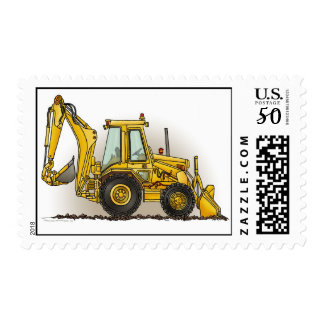 Backhoe Digger Construction Postage Stamp