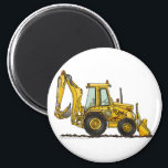 """Backhoe Digger Loader Construction Magnets<br><div class=""""desc"""">&quot;Sandboxes to construction sites,  boys of all ages like heavy equipment!  Zazzle is proud to offer this large selection of customizable items with this backhoe digger image by artist Richard Neuman. His uniquely styled images combining detail with a touch of whimsy is collected worldwide.&quot;</div>"""