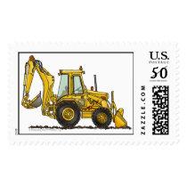 Backhoe Digger Loader Construction Stamps