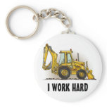 Backhoe Key Chain I Work Hard