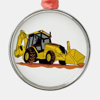 Backhoe Loader Round Metal Christmas Ornament