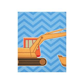 Backhoe on zigzag chevron - Blue Canvas Print