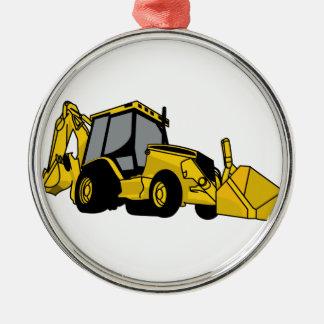 Backhoe Round Metal Christmas Ornament