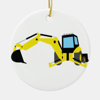 BACKHOE Double-Sided CERAMIC ROUND CHRISTMAS ORNAMENT