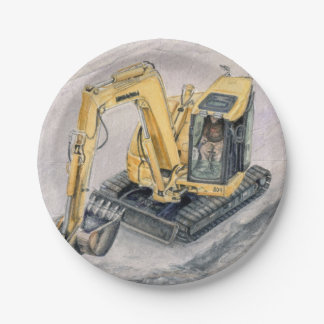Backhoe Paper Plates 7 Inch Paper Plate