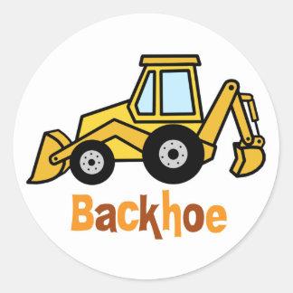 Backhoe Round Sticker