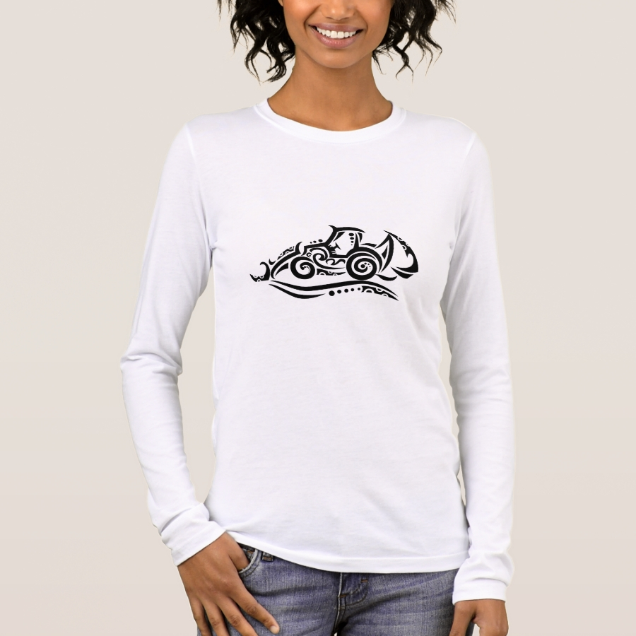 Backhoe Tribal Tattoo Long Sleeve T-Shirt - Best Selling Long-Sleeve Street Fashion Shirt Designs