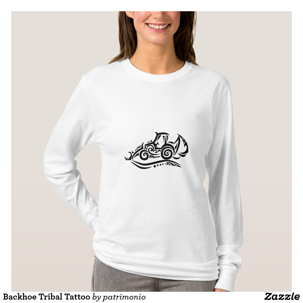 Backhoe Tribal Tattoo T-Shirt - Best Selling Long-Sleeve Street Fashion Shirt Designs