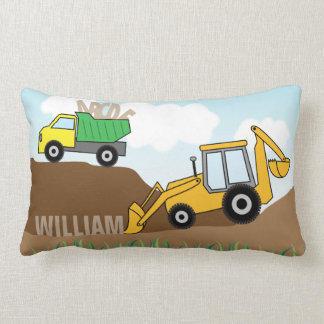 Backhoe with Loader and Dump Truck Personalized Lumbar Pillow
