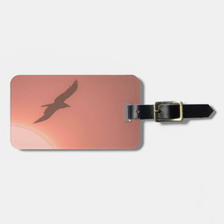Backlit Flying Bird Silhouette Orange Pink Tag For Luggage