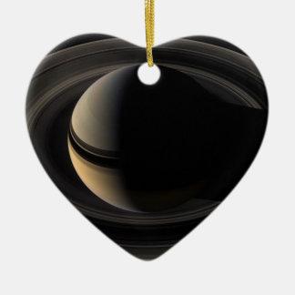 Backlit Saturn from Cassini To orbit Ceramic Ornament