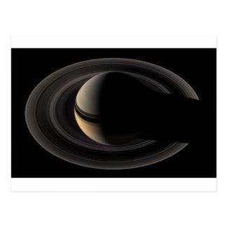 Backlit Saturn from Cassini To orbit Postcard