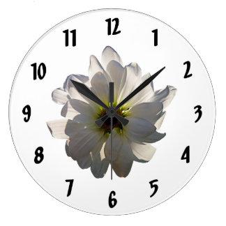 Backlit White Daisy Clock