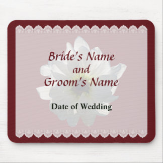 Backlit White Daisy Wedding Favors Mouse Pad