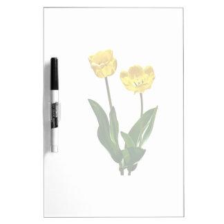 Backlit Yellow Tulips Dry Erase Board
