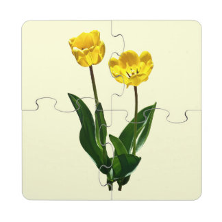 Backlit Yellow Tulips Puzzle Coaster