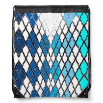 Backpack Aqua Turquoise Diamond Pattern
