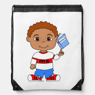 backpack cute boy holding book on finger cartoon
