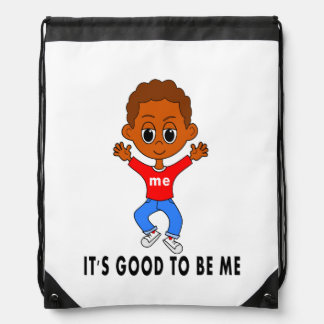 backpack happy boy jumping up cartoon positive