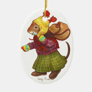 Backpack Mouse Ornament Ceramic Oval Ornament