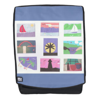 Backpack with Colorful Nature Designs