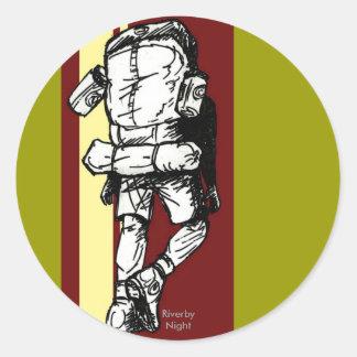 Backpacker (guy)-RedYellow Classic Round Sticker