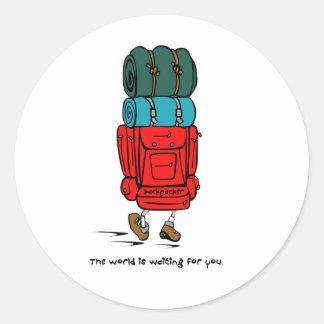 Backpacker Round Sticker