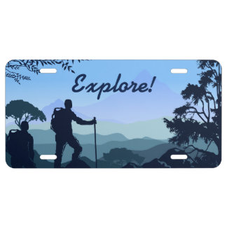 Backpacking Hiking Mountain Vista License Plate
