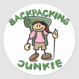 Backpacking Junkie-Girl Classic Round Sticker
