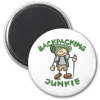 Backpacking Junkie - Guy 2 Inch Round Magnet