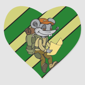 Backpacking Mouse Heart Sticker