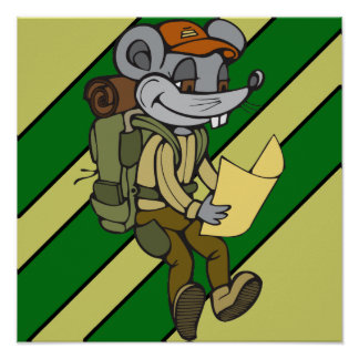 Backpacking Mouse Poster