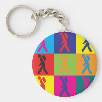 Backpacking Pop Art Basic Round Button Keychain