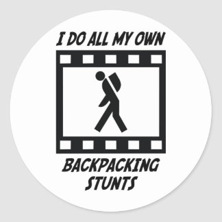 Backpacking Stunts Round Stickers