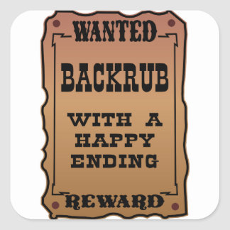 Backrub querido con una conclusión feliz calcomanía cuadradase