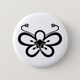 Backside-view shadowed butterfly-shaped ume pinback button