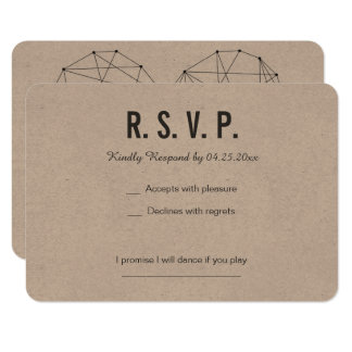 BACKSIDED with geometric heart RSVP card Wedding