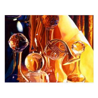 """Backstage"" Musical Instruments & Glass Art Postcard"