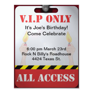 Backstage Pass Party 4.25x5.5 Paper Invitation Card